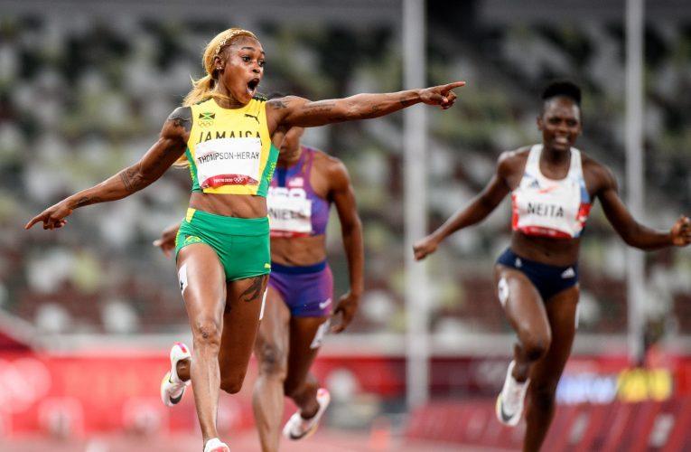 صرخت من الفرحة قبل عبورها الخط.. الجامايكية إيلين طومسون هيرا تدافع عن لقب سباق 100 متر برقم قياسي
